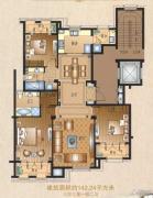运河一品3室3厅2卫142平方米户型图