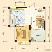 春风玫瑰园1室2厅1卫57平方米户型图