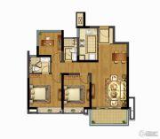 融创玉兰公馆3室2厅2卫88平方米户型图