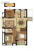 鸿�Z园3室2厅1卫114平方米户型图