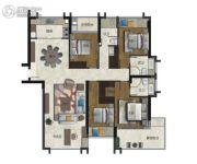 海�Z天翡4室2厅3卫175平方米户型图